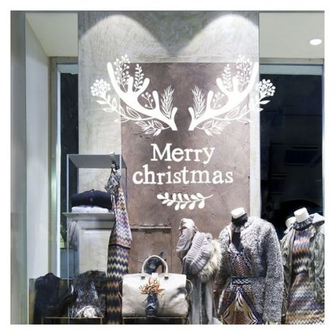 Sticker décoration vitrine: Bois de Cerf - Noël: