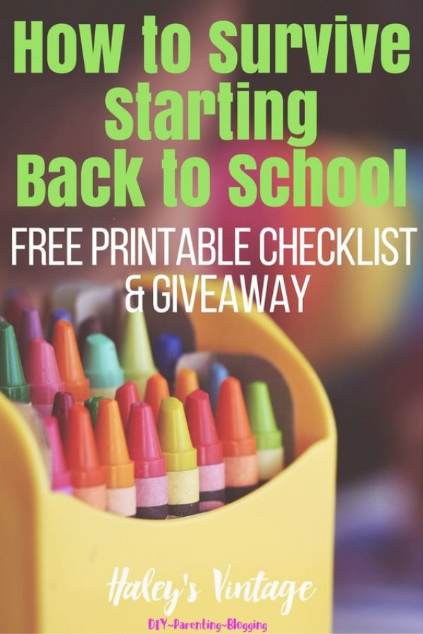 How to Survive Starting Back to School Plus FREE Printable Checklist & Giveaway http://haleysvintage.com/survive-starting-back-to-school-checklist/ Have you every wondered when you should do something to make back to school stress-free? Here are my simple tricks to help you survive starting back to school!: