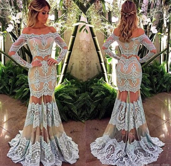 Lace and mesh are perfect for mermaid prom dresses!