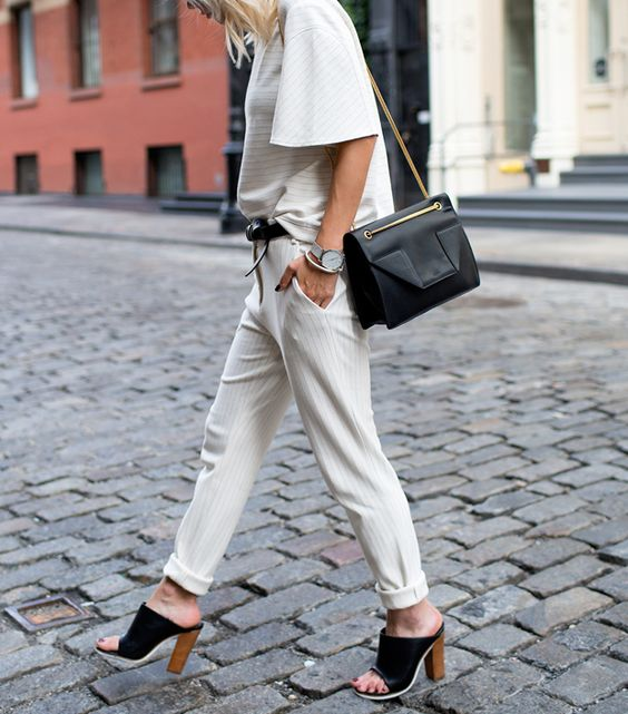 Shop The Most Flattering Work Pants Ever via @WhoWhatWear // The ideal cream pinstripe trouser by Tibi.: