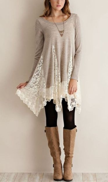 This top would be perfect for me to wear to work and at home. I like the lace detailing on it: