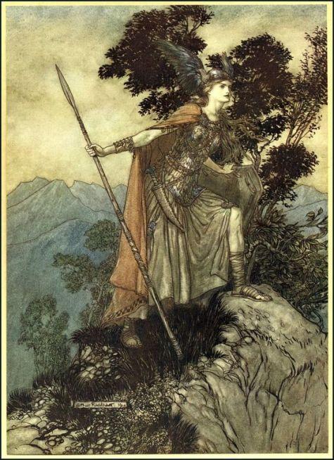 Brunnhilde la Valkyrie par Arthur Rackham