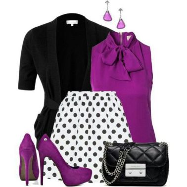 Purple bow on collar sleeveless shirt with poka dot skirt.: