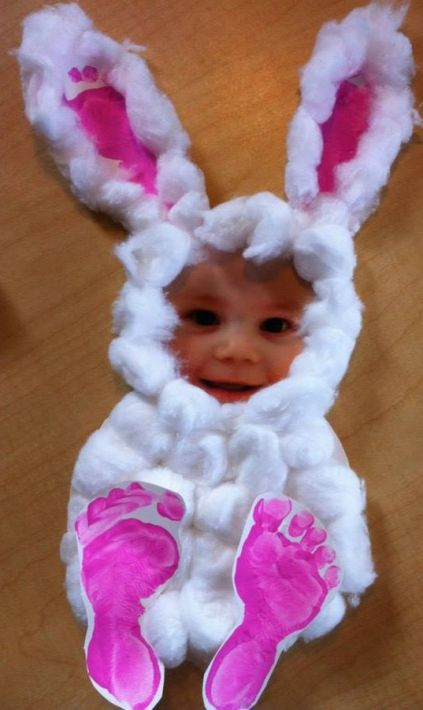 Easy Easter Craft - Cotton Balls, Footprints and Kids Picture