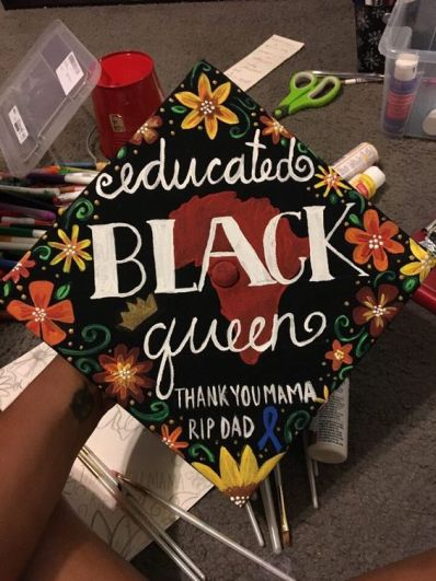 @lowkeyB's hand painted educated black queen grad cap for UNT graduation: