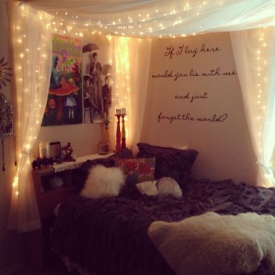 Do this with bedroom hanging lights **like christmas lights but for inside** and an amazing bed cover thing like this.!! = AMAZING.!!: