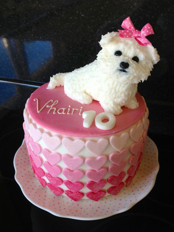 Maltese Dog Cake design with the Hearts