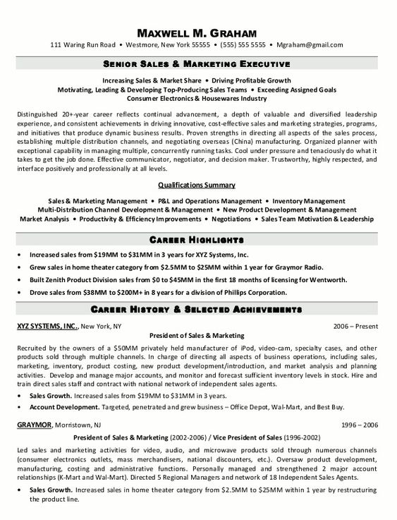 Resume Resume Template Marketing Job best executive resume format and maker retail example car sales vice president of sales