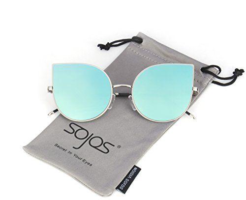SojoS Cat eye mirrored flat lenses Ultra Thin Ultra Light...: