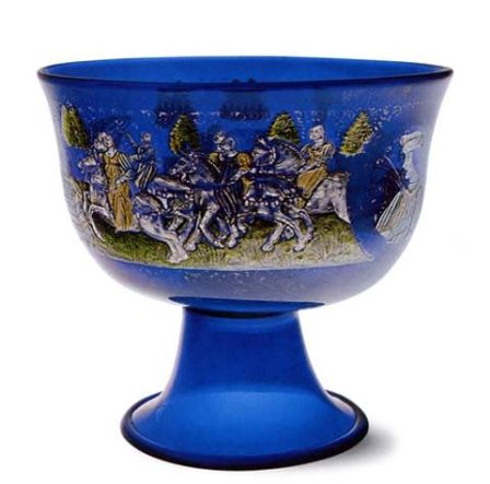 """The """"Barovier"""" Betrothal Goblet with enamelled and gold-leaf decoration (between 1475-1500),Venetian  Glass Museum:"""