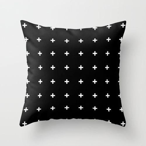 White Cross on Black // White Plus on Black Throw Pillow: