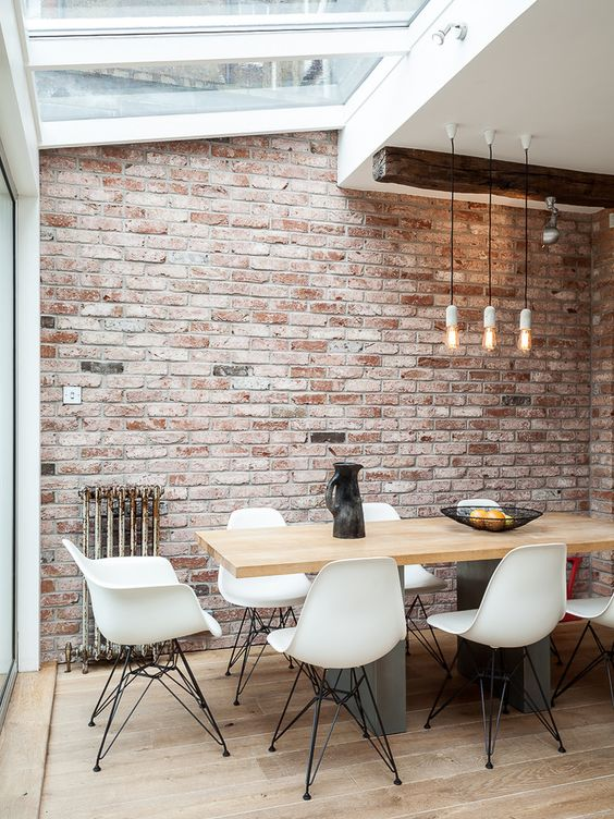 Marvelous Faux Brick Panels mode London Industrial Dining Room Decoration ideas with brick wall distressed wood industrial pendant light natural lighting pendant light reclaimed wood skylight: