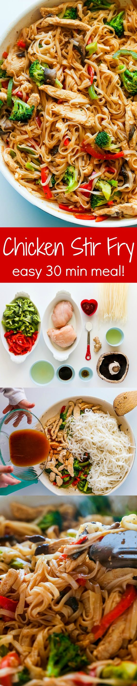 Chicken Stir Fry with Rice Noodles Recipe via Natasha's Kitchen - This is an easy and delicious weeknight meal loaded with healthy ingredients. A one-pan, 30 minute chicken stir fry recipe. - The BEST 30 Minute Meals Recipes - Easy, Quick and Delicious Family Friendly Lunch and Dinner Ideas