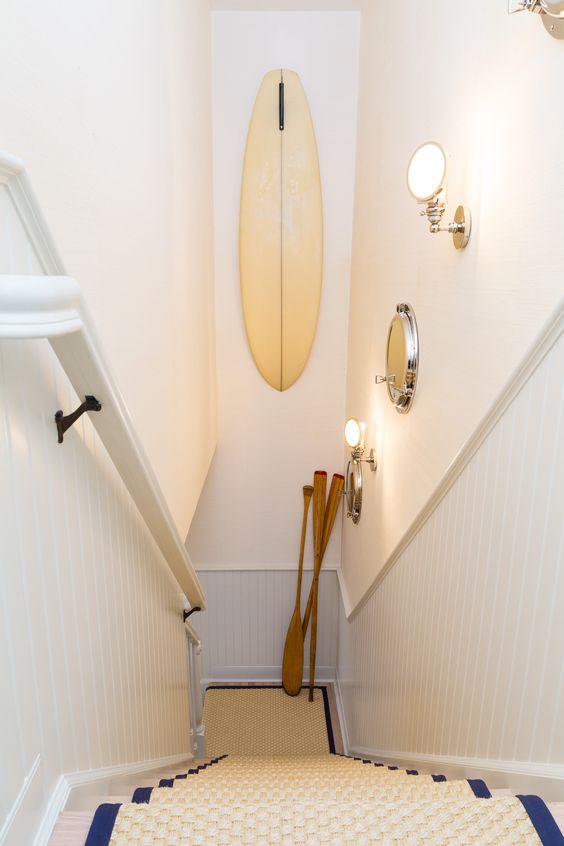 East Hampton Beach Cottage || Vintage Surfboard & Nautical Sconces || Chango & Co.