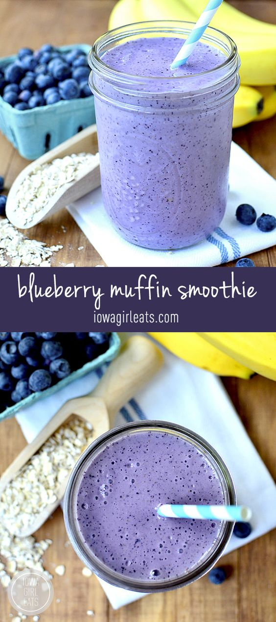 Blueberry Muffin Smoothies Recipe via Iowa Girl Eats - Skip the muffin and drink a healthy, gluten-free Blueberry Muffin Smoothie that tastes like one instead!