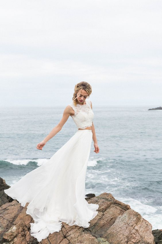 Two-piece BHLDN wedding dress | KAngell Photography:
