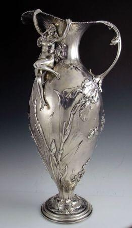 Gorham Art Nouveau Sterling Silver Figural Ewer, ca.1895 | JV: