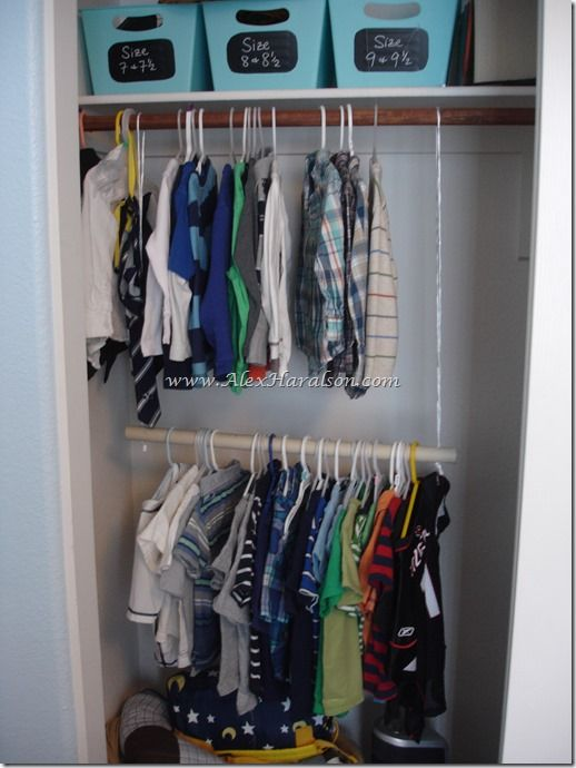10 ways to make doing kids' laundry easier! Use PVC pipe and rope to add a second clothing bar to kids' closet.
