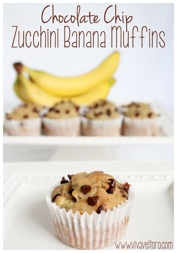 Chocolate Chip Zucchini Banana Muffins - a perfect use for overripe bananas and a great way to sneak some veggies into your child's diet. They're picky toddler approved too!: