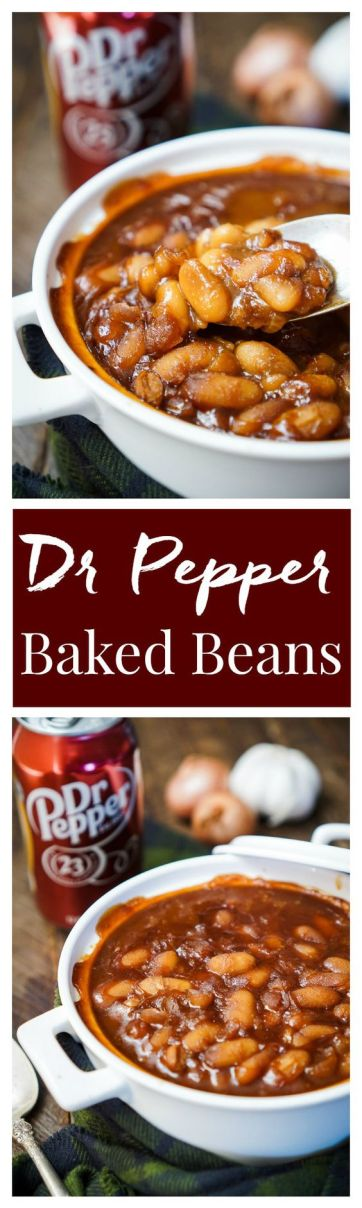 These Dr Pepper Baked Beans are sweet and delicious and ready in less than an hour! A comforting recipe great for holidays, game days, and weekends!: