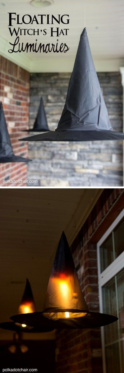 DIY: Floating Witch's Hat Luminaries. How perfect for our Hocus Pocus Halloween Party!: