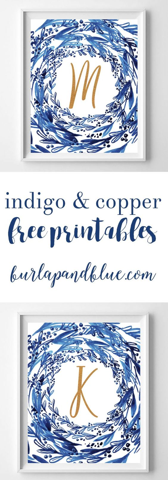 Free watercolor printable initials in indigo and copper. These free printables are the perfect wall art idea or gift!: