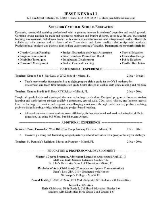 teacher resumes resume and school teacher on pinterest