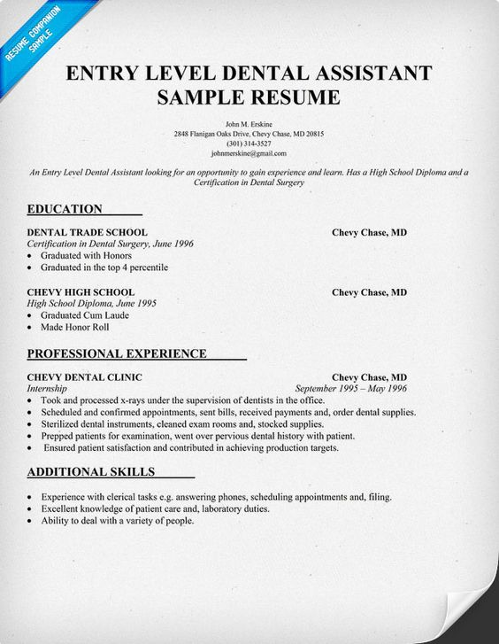 resume dental assistant and entry level on pinterest
