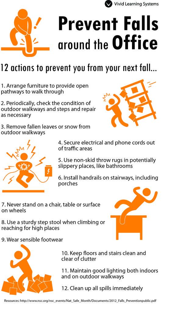 Prevent Falls around the Office! Work Safety Pinterest
