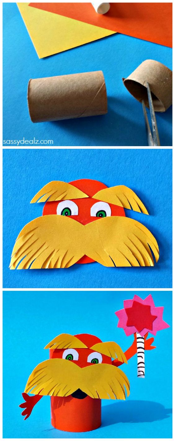 Lorax Toilet Paper Roll Craft For Kids (Dr. Suess