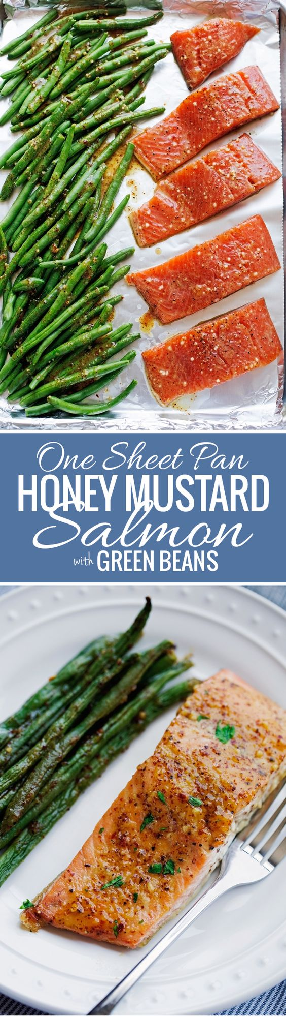 One Sheet Pan Honey Mustard Salmon with Green Beans Recipe via Little Spice Jar - An easy weeknight dinner that's all baked in one pan!