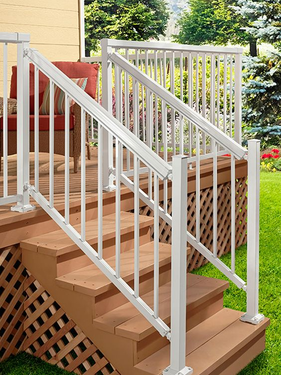 DIY Aluminum Railing System Stair Railing White with
