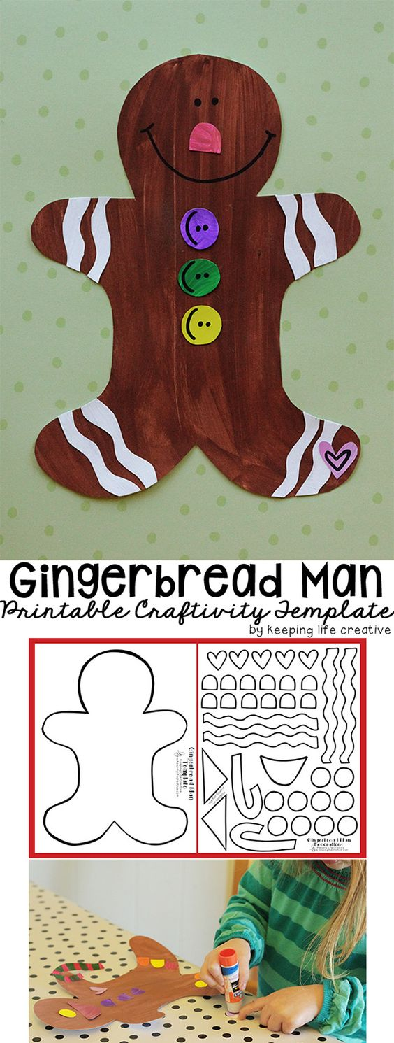 Printable Gingerbread Man Craft Christmas projects, For