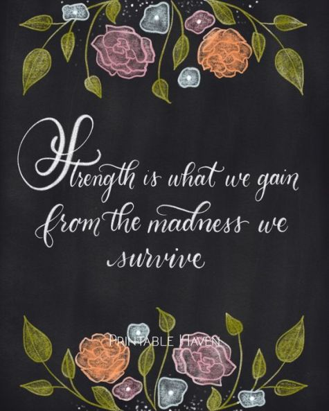 Chalkboard inspirational strength quote - Strength is what we gain from the madness we survive.: