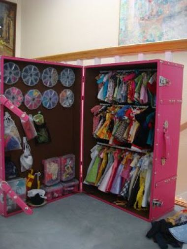 Tension rods, heavy duty Velcro, command hooks, plastic bins.  For Grace for her American girl things...add wheels...: