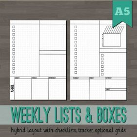 Weekly Lists & Boxes Planner Inserts - A5 Printable Planner - Bullet Journal Inspired - Blank, Square, Dot Grids - Week Layout Undated Wo2P: