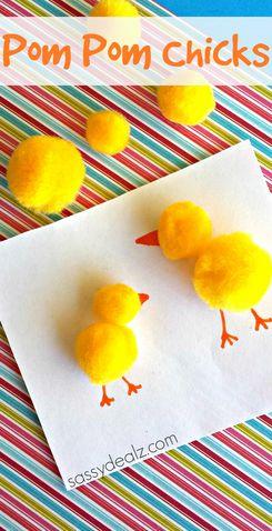 Spring Crafts for Kids - Pom Pom Chicks
