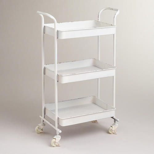 white austin 3-tier metal cart | art supplies, kitchens and offices