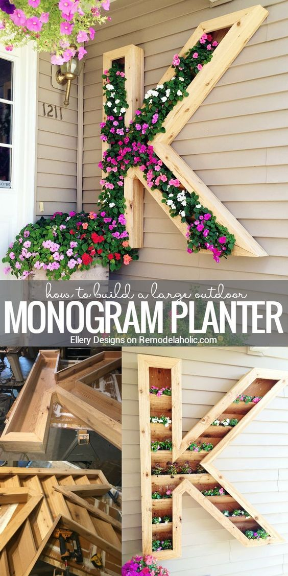 How to:  Build a Large Outdoor Monogram Planter via Remodelaholic - This extra large monogram planter will add some beautiful color to your front walkway! Built with cedar to withstand watering and weathering, plus you can easily re-plant when this season's blooms are done.
