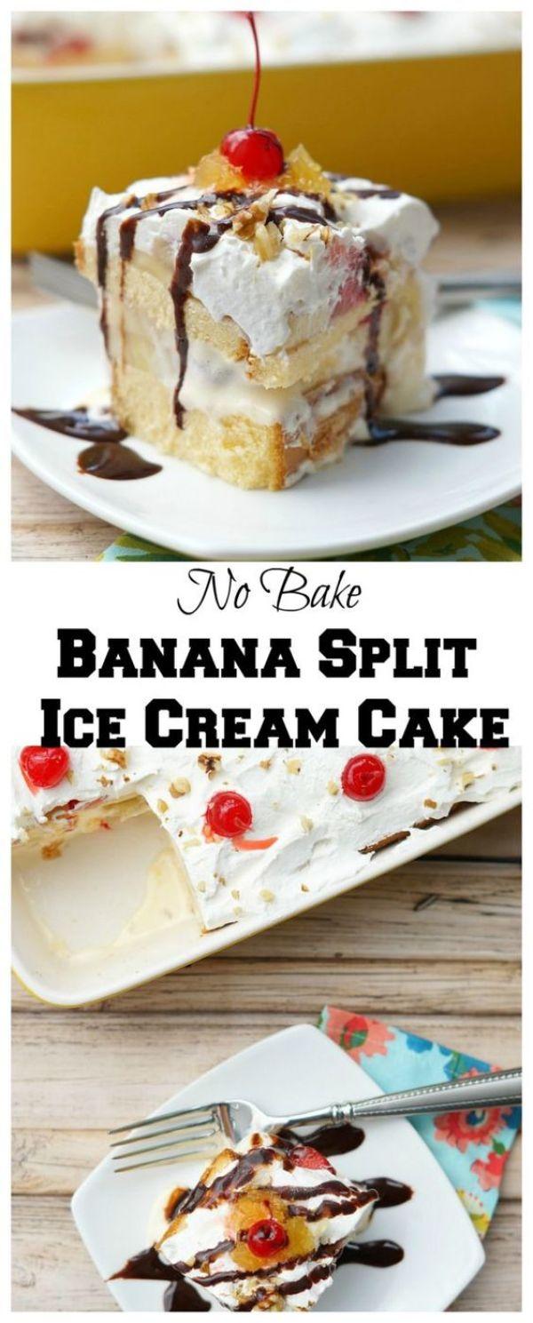 No Bake Banana Split Ice Cream Cake ad #sohoppingood #topyoursummer: