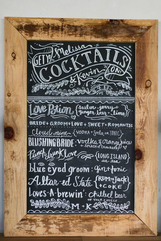 chalkboard cocktail menu // photo by Chris + Jenn