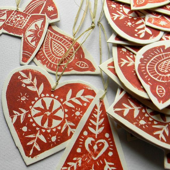 Lino Print Christmas Tree Ornaments Did You See These