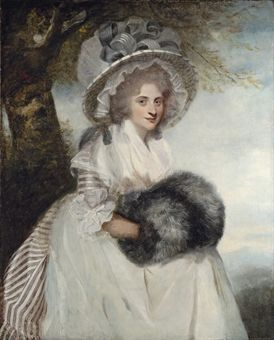 Portrait of Mrs Wells, three-quarter-length, seated, in a striped dress and straw hat, Sir Joshua Reynolds: