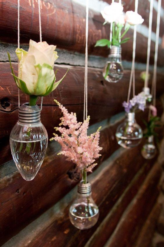 Falls Flowers Wedding at Rutgers Sun & Shade Garden - light bulb flower holders: