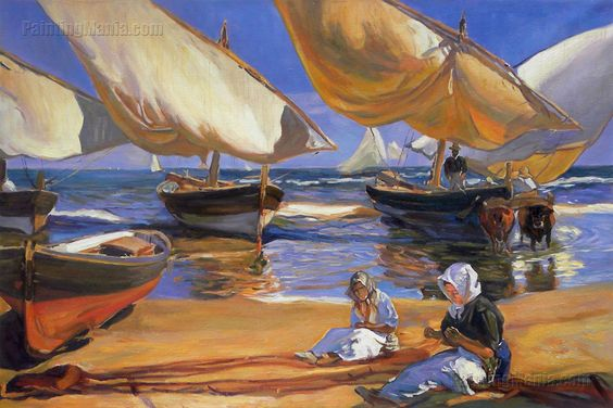On the Beach at Valencia - Joaquin Sorolla y Bastida: