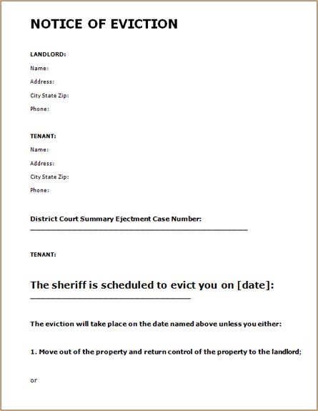 Eviction Notice Template. free eviction notice template download ...