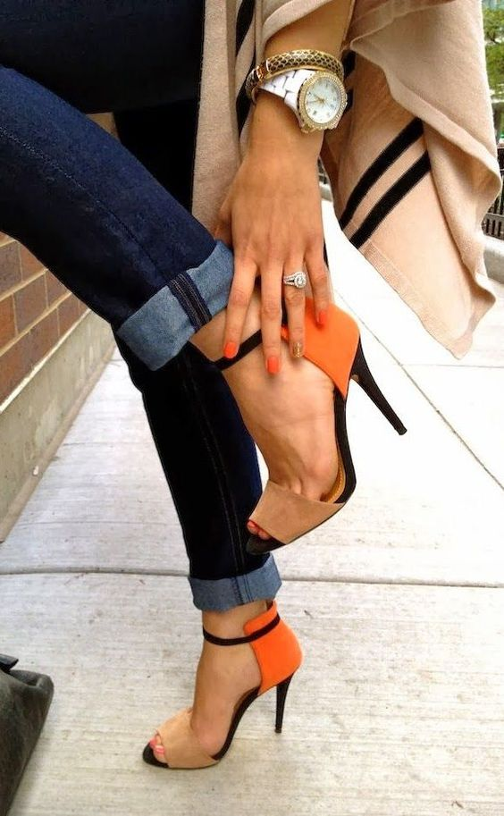 Pop of Orange & Cuffed Denim ♥: