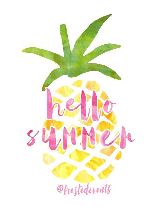 Free Pineapple Print | Hello Summer Pineapple Watercolor Printable | Frosted Events