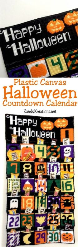 Country Mouse City Spouse Monday Mish Mash #38 Feature: Plastic Canvas Halloween Countdown Calendar @ Kandy Kreations