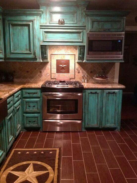 Copper Lone Star Inset In Backsplash Tile Kitchens